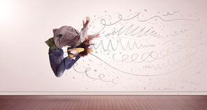 Pretty woman jumping with hand drawn lines and arrows come out Stock Images