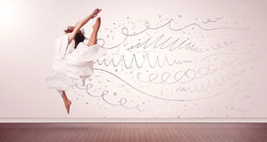 Pretty woman jumping with hand drawn lines and arrows come out Royalty Free Stock Photography