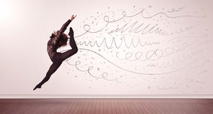 Pretty woman jumping with hand drawn lines and arrows come out Stock Photography