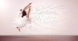 Pretty woman jumping with hand drawn lines and arrows come out Stock Image