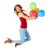Pretty woman jumping with olorful balloons isolated on white background Stock Image