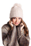 Pretty woman in knitted clothes isolated on white Royalty Free Stock Photo