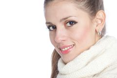 Pretty woman in knitted warm scarf Royalty Free Stock Photography