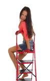 Pretty woman on Ladder, isolated Stock Photos