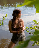Pretty Woman in Lake Royalty Free Stock Images