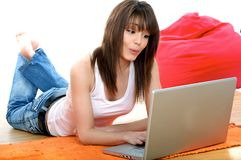 Pretty woman with laptop Royalty Free Stock Photography