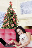 Pretty woman with laptop and dog on sofa Stock Image