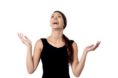 Pretty woman laughing heartily Stock Photography