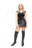 Pretty woman in leather Royalty Free Stock Photos