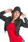 Pretty woman in leather jacket Stock Image