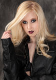 Pretty Woman in Leather Jacket Royalty Free Stock Photography