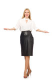 Pretty woman in leather skirt isolated on white. The pretty woman in leather skirt isolated on white Stock Images