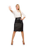 Pretty woman in leather skirt isolated on white Stock Images