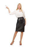 Pretty woman in leather skirt isolated on white. The pretty woman in leather skirt isolated on white Royalty Free Stock Images