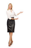 Pretty woman in leather skirt isolated on white. The pretty woman in leather skirt isolated on white Stock Photo