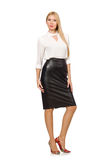 Pretty woman in leather skirt isolated on white. The pretty woman in leather skirt isolated on white Stock Image