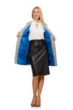 Pretty woman in leather skirt isolated on white Royalty Free Stock Photo