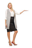 Pretty woman in leather skirt isolated on white Royalty Free Stock Photography