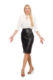 Pretty woman in leather skirt isolated on white. The pretty woman in leather skirt isolated on white Royalty Free Stock Photos