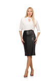 The pretty woman in leather skirt isolated on Stock Photography