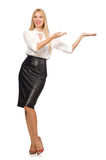 Pretty woman in leather skirt on white. The pretty woman in leather skirt isolated on white Royalty Free Stock Images