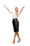 Pretty woman in leather skirt on white Royalty Free Stock Photography