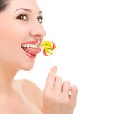 Pretty Woman Licking Candy Stock Photo