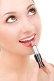 Pretty woman with lipstick Royalty Free Stock Photos