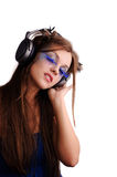 Pretty woman listen music Stock Photo