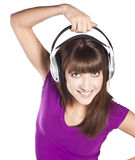 Pretty woman listening, and enjoying music Stock Photo