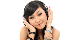 Pretty woman listening music Stock Photos