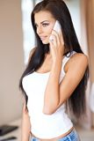 Pretty woman listening to a conversation Royalty Free Stock Photo