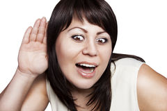 Pretty woman listening to gossip Stock Photo