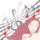 Pretty woman listening to love song with eyes closed. Beautiful woman dreaming about beloved singing a love song to her symbolyzed by note staff with notes and Royalty Free Stock Photos
