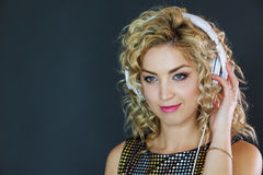 Pretty Woman listening to music Royalty Free Stock Image