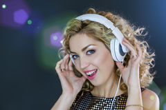 Pretty Woman listening to music Stock Images