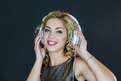 Pretty Woman listening to music Royalty Free Stock Photo
