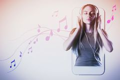 Pretty woman listening to music. Relaxed pretty woman listening to music on light background with abstract smartphone and notes. Hobby, player concept Stock Photography