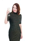Pretty woman in a little black dress drink a wine isolated on wh Stock Photos