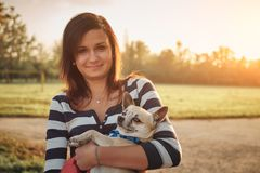 Little dog and woman royalty free stock photos