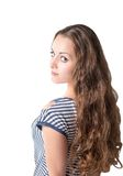 Pretty woman with long beautiful curly brown hair isolated. On white background stock photos