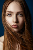 Pretty woman with long brown hair Royalty Free Stock Image