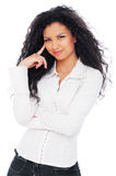 Pretty woman with long curly hair Royalty Free Stock Photos