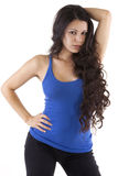 Pretty Woman with Long Dark Hair Stock Images