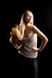 Pretty woman with long hair Stock Images