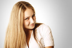 Pretty woman with long hairs Royalty Free Stock Photos