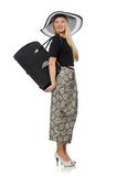 Pretty woman in long skirt isolated on the white Stock Photos