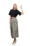 Pretty woman in long skirt isolated on the white Royalty Free Stock Images