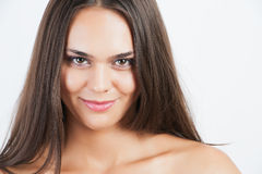 Pretty woman with long straight brown hair Stock Photos