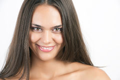 Pretty woman with long straight brown hair Stock Image
